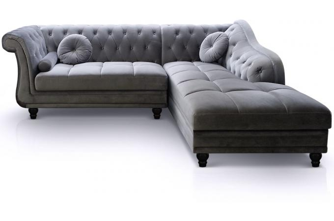 Canap d 39 angle brittish velours argent style chesterfield - Canape argente pas cher ...