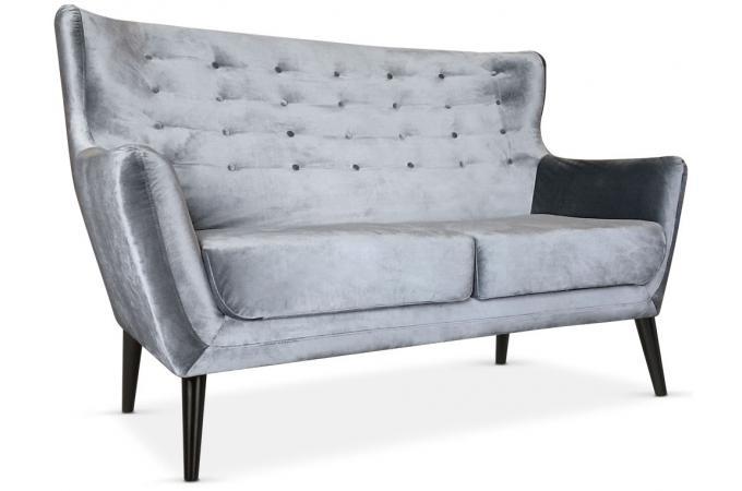 canap scandinave 2 places depalma velours argent canap 2 places pas cher. Black Bedroom Furniture Sets. Home Design Ideas