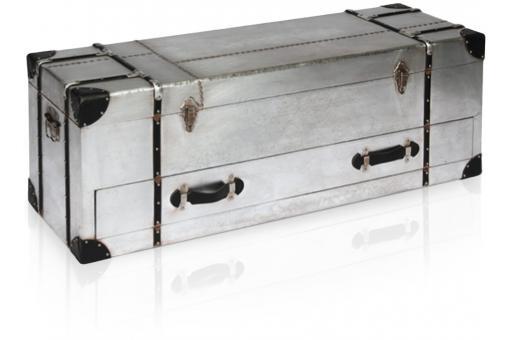 coffre patel en m tal et simili cuir noir meuble de rangement pas cher. Black Bedroom Furniture Sets. Home Design Ideas