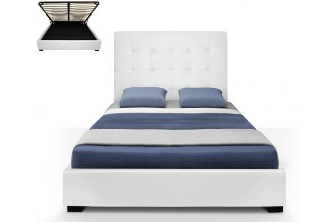 lit coffre trevene sommier 140cm blanc lit design pas cher. Black Bedroom Furniture Sets. Home Design Ideas