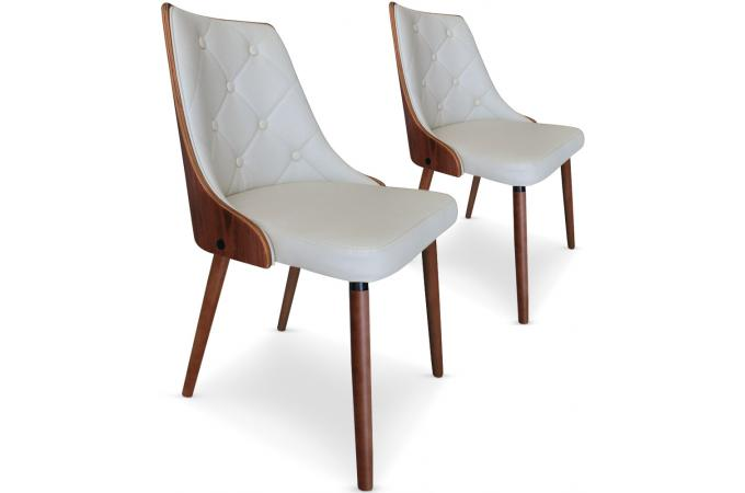 Lot de 2 chaises scandinaves cadix bois noisette cr me chaise design - Lot chaises design pas cher ...