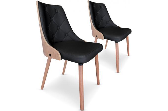 Lot de 2 chaises scandinaves cadix ch ne clair noir - Lot de chaise design pas cher ...
