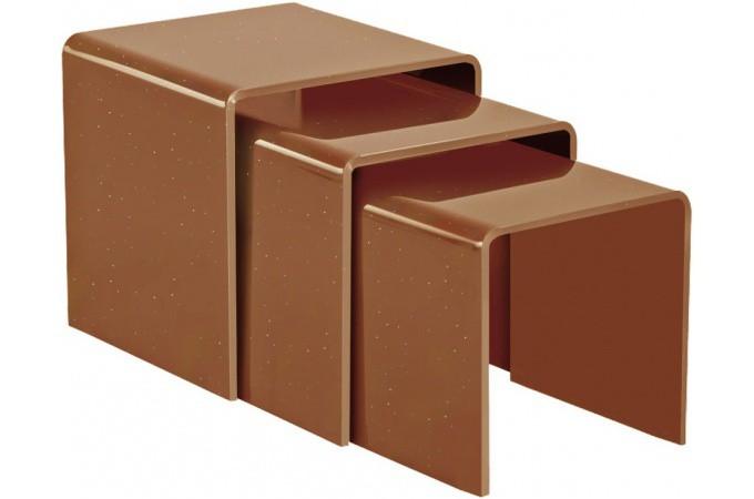 table basse gigogne marron en verre fabricia table basse. Black Bedroom Furniture Sets. Home Design Ideas