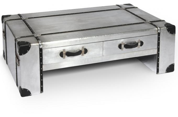 table basse patel en m tal et simili cuir noir table. Black Bedroom Furniture Sets. Home Design Ideas