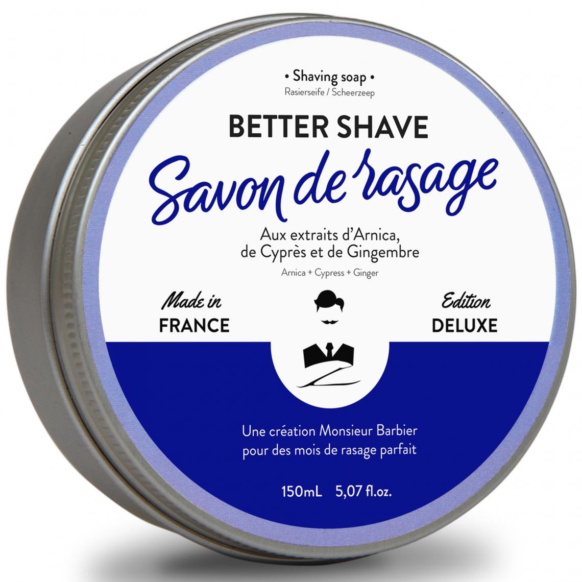 Savon de rasage traditionnel Better-Shave (arnica, cyprès, gingembre) Monsieur Barbier