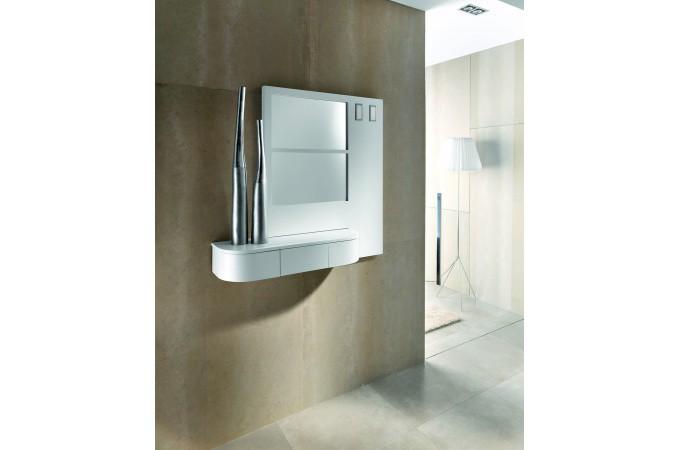 Meuble d 39 entr e mural blanc design meuble de rangement for Rangement mural entree
