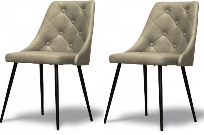 lot de 2 chaises design en simili cuir taupe chaise design pas cher. Black Bedroom Furniture Sets. Home Design Ideas