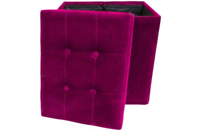 tabouret de rangement pliant velours fushia dolphin pouf. Black Bedroom Furniture Sets. Home Design Ideas
