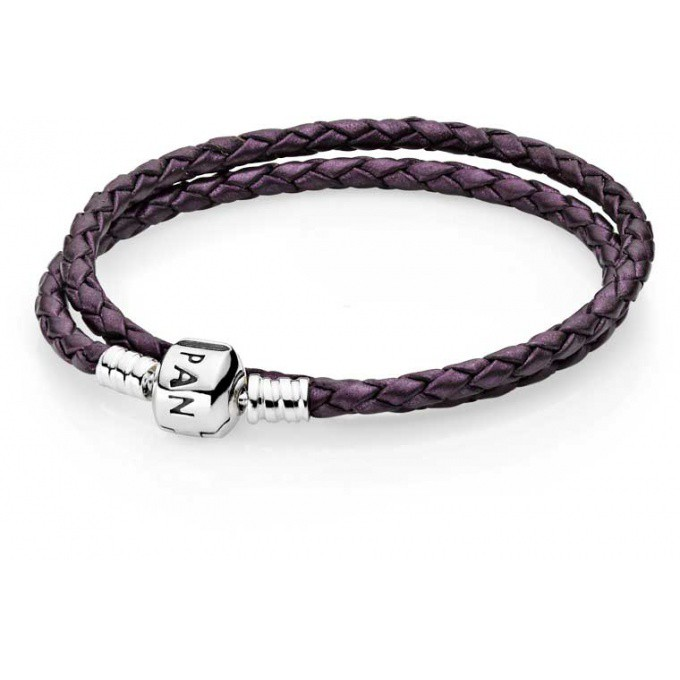 promotion Bracelet Cuir Violet et Fermoir Argent Double tour Pandora - 590705CPE-D