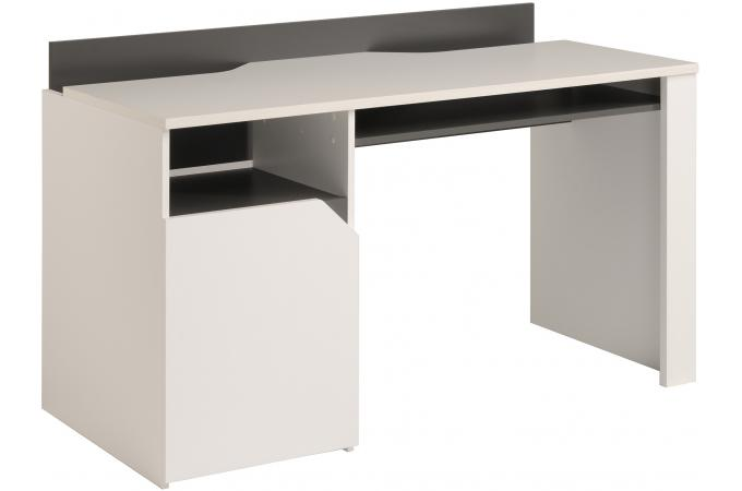 bureau avec multiples rangement blanc et gris bureau pas. Black Bedroom Furniture Sets. Home Design Ideas