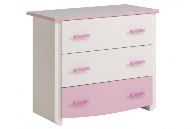 Commode 3 tiroirs beauty megeve blanc et rose commode - Commode 3 tiroirs pas cher ...
