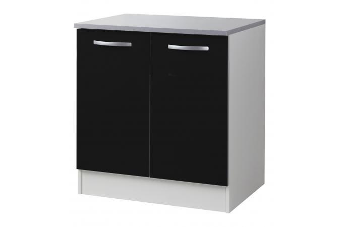 Element bas de cuisine sous vier 2 portes noir meuble for Evier de cuisine noir pas cher