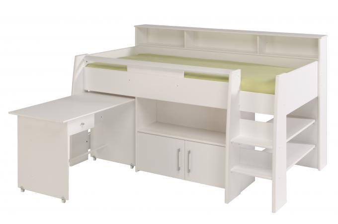 Lit mezzanine en imitation bois blanc bureau et armoire leon design pas che - Mezzanine bois blanc ...