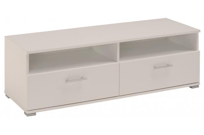 Meuble tv en imitation bois blanc 2 tiroirs gamble design for Imitation meuble design