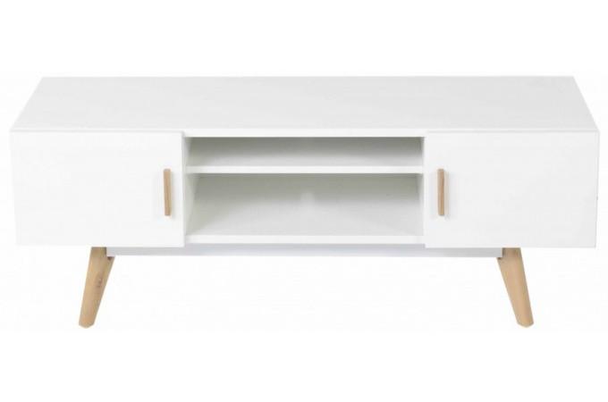 Meuble tv blanc plaqu bois t odora meuble tv pas cher for Meuble tv bois blanc pas cher
