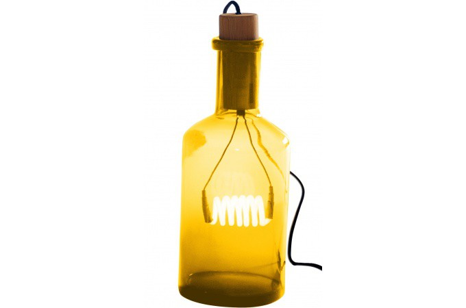 lampe en verre ambre bouteille lucie seletti lampe poser pas cher. Black Bedroom Furniture Sets. Home Design Ideas