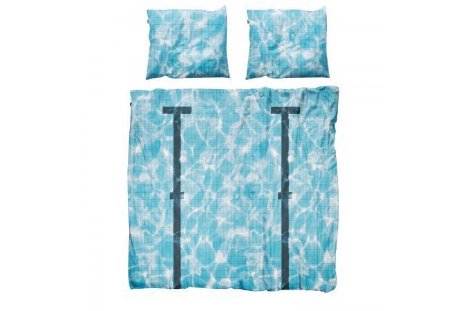 parure bleue coton 220x240 cm et deux taies d 39 oreiller 65x65 cm piscine housse de couette et. Black Bedroom Furniture Sets. Home Design Ideas