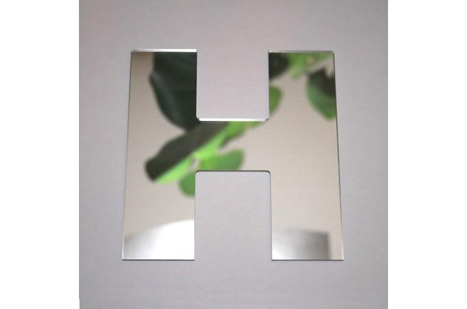 Declikdeco  Miroir H argenté en verre Teri H.8 cm