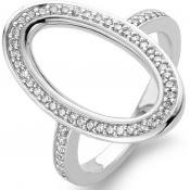 Bague Ovale Argent Strass - Ti Sento