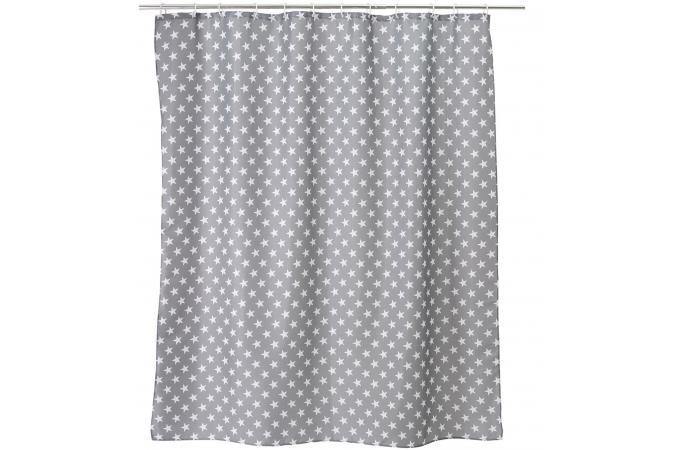 rideau salle de bain stars gray 180 x 200 cm rideaux pas cher. Black Bedroom Furniture Sets. Home Design Ideas