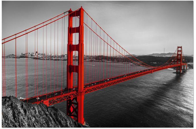 tableau photoimpression golden gate noir et rouge 120 x 3 x 80 cm tableau ville pas cher. Black Bedroom Furniture Sets. Home Design Ideas