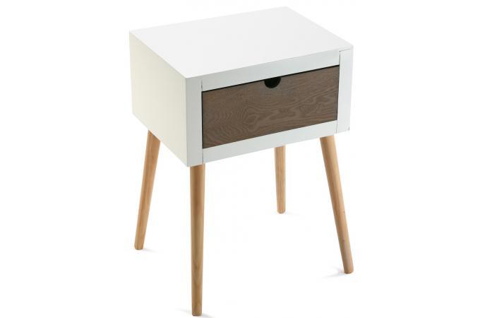 chevet blanc 1 tiroir table de chevet pas cher. Black Bedroom Furniture Sets. Home Design Ideas