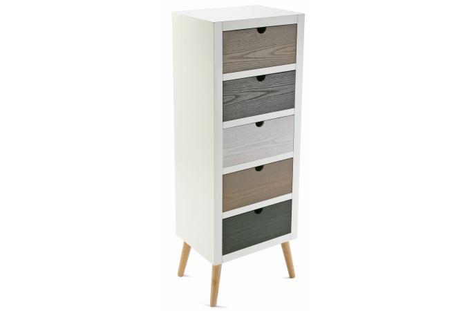 commode blanche 5 tiroirs deco design. Black Bedroom Furniture Sets. Home Design Ideas