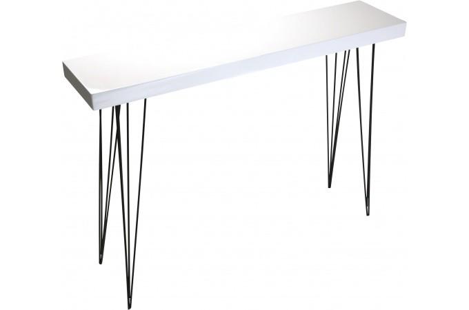 Declikdeco table d 39 entr e blanche en bois vigoth - Console d entree blanche ...
