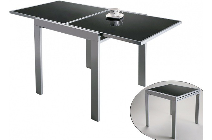 Declikdeco table extensible noire en verre truman supplier cheap e deals - Table transparente extensible ...